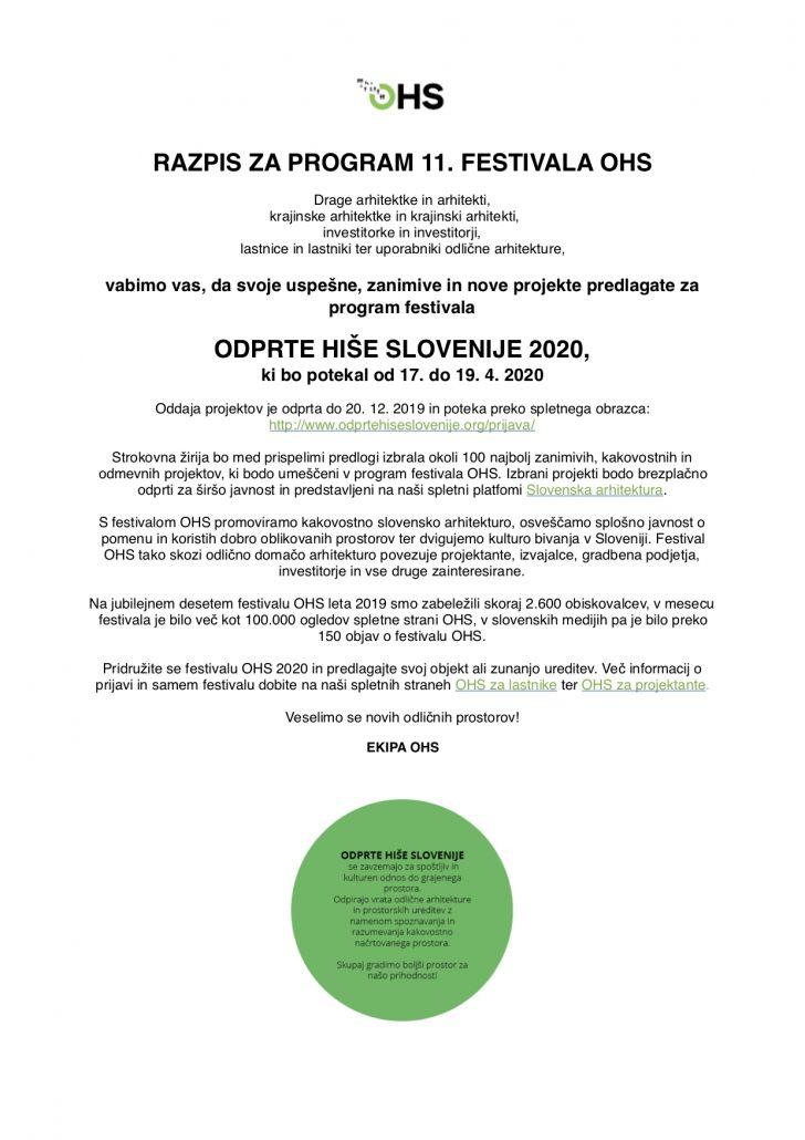 vabilo oddaja predlogov festival OHS razpis program